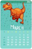Calendar template for March with t-rex. Illustration stock illustration