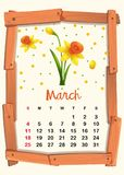 Calendar template for March with yellow flower. Illustration royalty free illustration