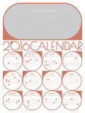 Calendar 2016 template Royalty Free Stock Images