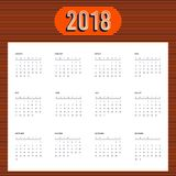 2018 calendar template modern flat design for a year. Starts week from Sunday,  illustration Stock Photo