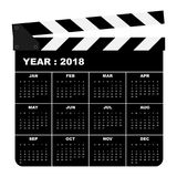 2018 calendar template modern flat design for a year. Movie slate,  illustration Royalty Free Stock Photo