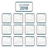 2018 calendar template modern flat design for a year. Starts week from Sunday, vector illustration Stock Image