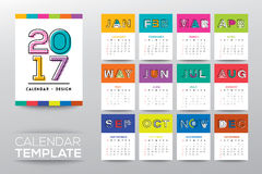 2017 calendar template with modern line graphic style. 2017 calendar vector template with modern line graphic style, week starts from Sunday Stock Image
