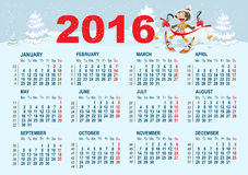 2016 Calendar template. Monkey goes skiing Stock Images