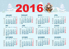 2016 Calendar template. Monkey is sitting on snow. Illustration in vector format Stock Photos