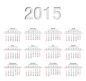 Calendar 2015. Calendar for 2015. Template month and day for the calendar design. Vector illustration Stock Image