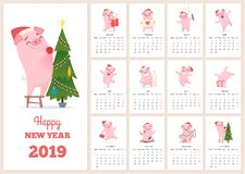 2019 calendar template. New year celebration pig character at design calendar planner pages vector layout diary months. Illustration of calendar to new year vector illustration