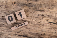 Calendar template for October on wooden background. Calendar template for October on wooden surface with copy space Royalty Free Stock Images