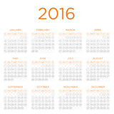 Calendar  template 2016 Royalty Free Stock Photography