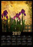 Calendar 2017 template with painting iris flowers on grunge back Stock Photo