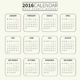 Calendar template for 2016. Calendar for 2016 on Pale or Light Background. Week Starts Monday. Simple Vector Template. For web and print design. Vector Royalty Free Stock Photos