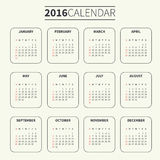Calendar template for 2016 Royalty Free Stock Image
