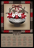 Calendar 2017 template with patchwork flowers basket retro sprin Stock Photo