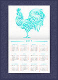 Calendar template with patterned rooster. Calendar template 2017 with floral patterned rooster. Symbol of Chinese New Year. It may be used for design of a Stock Photos