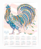 Calendar template with patterned rooster Royalty Free Stock Photos