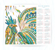 Calendar template with patterned rooster Stock Image