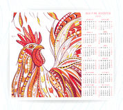 Calendar template with patterned rooster Royalty Free Stock Image