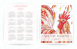 Calendar template with patterned rooster. Calendar template 2017 with patterned rooster. Symbol of Chinese New Year /  African / indian / totem / tattoo design Royalty Free Stock Photo