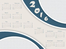 Calendar template with photo container for 2016 Royalty Free Stock Photos