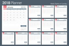 2018 Calendar. Template, planner, 12 pages, week starts on Sunday Stock Images