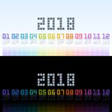 Calendar 2018 template with rainbow digital text. Vector EPS10. royalty free stock image