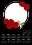 Calendar 2017 template with red flowers frame Royalty Free Stock Photo