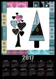 Calendar 2017 template with retro scandinavian pattern patchwork Stock Image