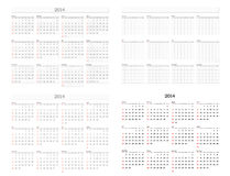 Calendar Template. 2014 Calendar Template Set With Empty Form For Any Year vector illustration