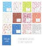 Calendar 2016 template set with floral patterns Royalty Free Stock Images