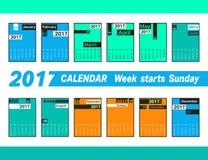 Calendar 2017 template. Simple geometric design. Week starts Sunday. Vector illustration Stock Photo