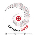 2019 Calendar Template.Spiral calendar.Calendar 2019 Set of 12 M. Onths.Vector design stationery template.Vector Illustration Royalty Free Stock Photos