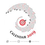 2019 Calendar Template.Spiral calendar.Calendar 2019 Set of 12 M. Onths.Vector design stationery template.Vector Illustration Royalty Free Stock Image