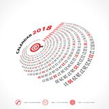 2018 Calendar Template.Spiral calendar.Calendar 2018. 2018 Calendar Template.Spiral calendar.Calendar 2018 Set of 12 Months.Vector design stationery template Royalty Free Stock Images