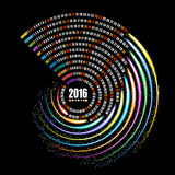 2016 calendar template, spiral firework on black background. 2016 calendar, spiral firework on black background Royalty Free Stock Photos