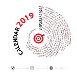 2019 Calendar Template.Spiral calendar.Calendar 2019 Set of 12 M. Onths.Vector design stationery template.Vector Illustration Stock Images