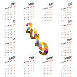 2019 Calendar Template.Starts Monday.Yearly calendar vector desi. Gn stationery template.Vector illustration Stock Photos