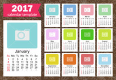 Calendar 2017 template. Sunday start calendar template, year 2017 Vector Royalty Free Stock Photos