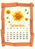 Calendar template with sunflower for September. Illustration Royalty Free Stock Image