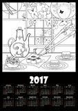 Calendar 2017 template with sushi and flowers. Coloring page Stock Photos