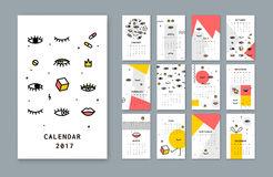 Calendar template for 2017 there with open eyes and Lips. Simple Calendar is a modern design. Style has a thin line vector illustration