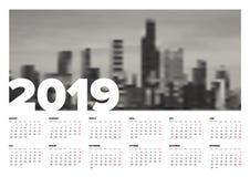 Calendar template 2019 Royalty Free Stock Photography