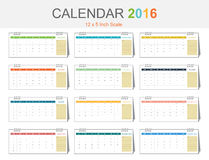 Calendar 2016 template (vector eps10). Colorful theme size 12x5 inch scale stock illustration