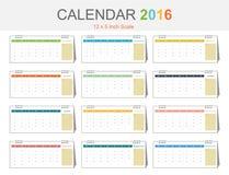 Calendar 2016 template (vector eps10) Stock Photo