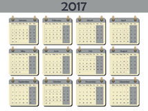 2017 calendar template, vector illustration. Week starts Monday. White background. Royalty Free Stock Photography