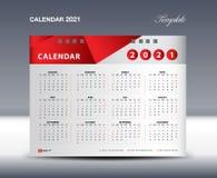 Calendar 2021 Template vector, Week starts Sunday, Stationery design, flyer design vector, printing media creative idea design stock illustration