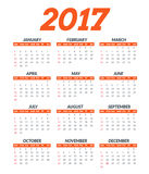 2017 calendar template. Vector 2017 year planner background. Royalty Free Stock Photo