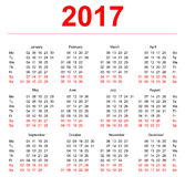 2017 Calendar template. Vertical weeks. First day Monday Stock Images
