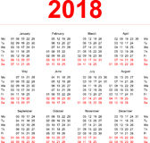 2018 Calendar template. Vertical weeks. First day Monday. Illustration in vector format Stock Photography