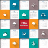 2016 calendar template with weather icon. Stock Image