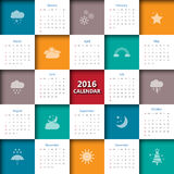 2016 calendar template with weather icon. Vector/illustration Royalty Free Stock Images